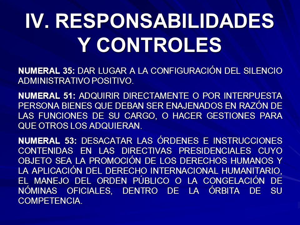 IV. RESPONSABILIDADES Y CONTROLES NUMERAL 35: DAR LUGAR A LA CONFIGURACIÓN DEL SILENCIO ADMINISTRATIVO POSITIVO. NUMERAL 51: ADQUIRIR DIRECTAMENTE O P