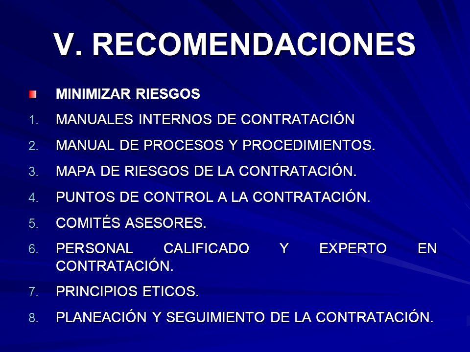 V. RECOMENDACIONES MINIMIZAR RIESGOS 1. MANUALES INTERNOS DE CONTRATACIÓN 2. MANUAL DE PROCESOS Y PROCEDIMIENTOS. 3. MAPA DE RIESGOS DE LA CONTRATACIÓ