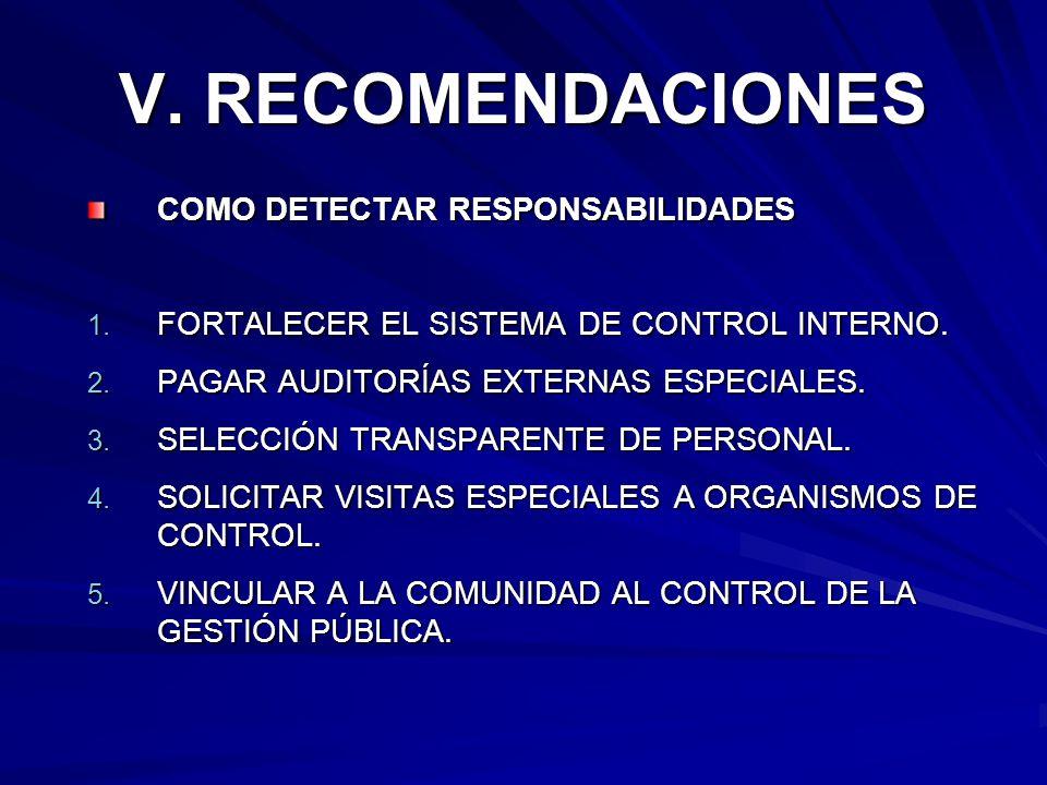 V. RECOMENDACIONES COMO DETECTAR RESPONSABILIDADES 1. FORTALECER EL SISTEMA DE CONTROL INTERNO. 2. PAGAR AUDITORÍAS EXTERNAS ESPECIALES. 3. SELECCIÓN