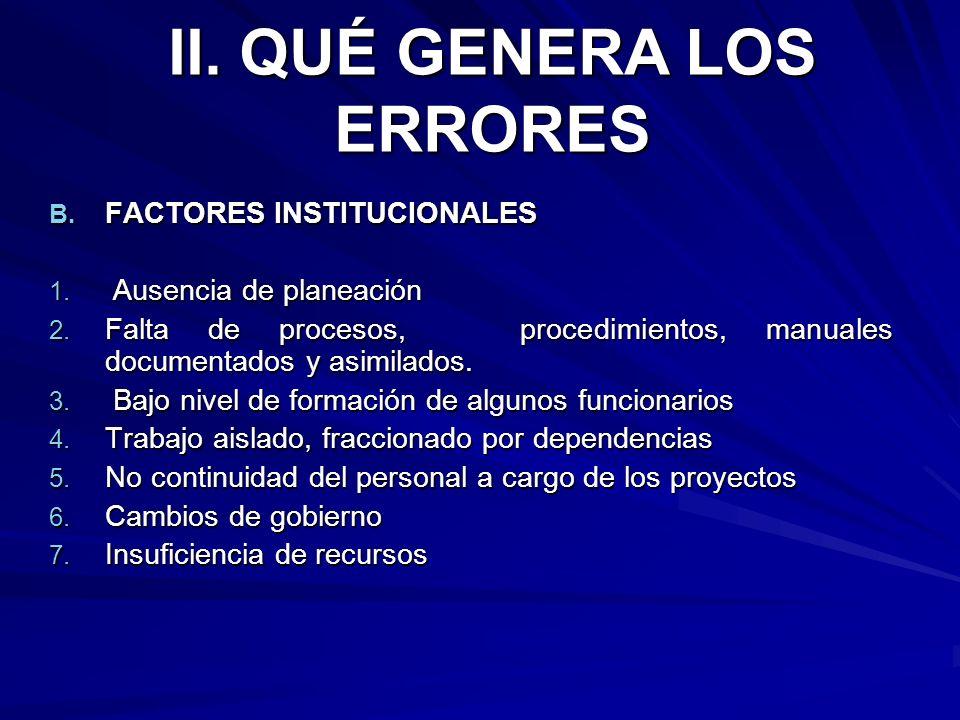 B. FACTORES INSTITUCIONALES 1. Ausencia de planeación 2. Falta de procesos, procedimientos, manuales documentados y asimilados. 3. Bajo nivel de forma