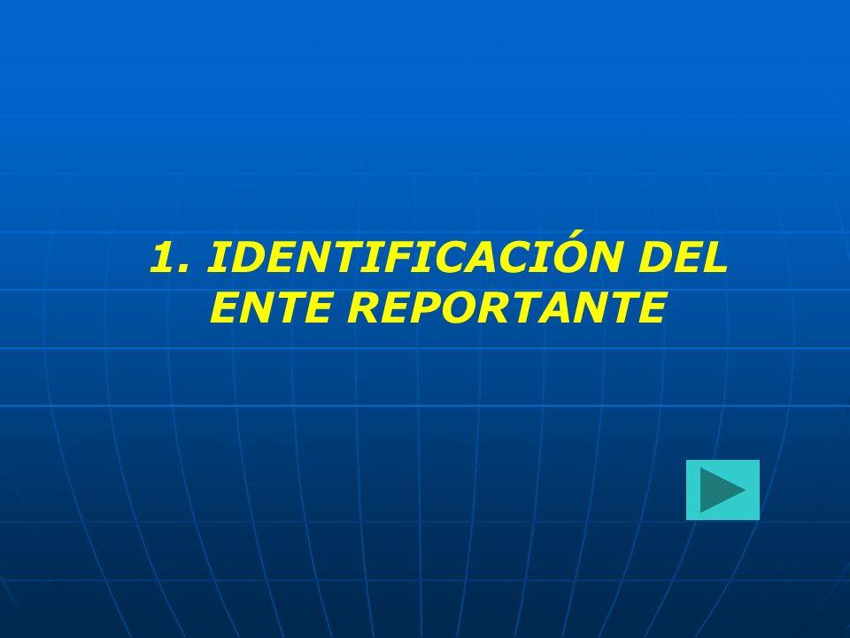 1. IDENTIFICACIÓN DEL ENTE REPORTANTE