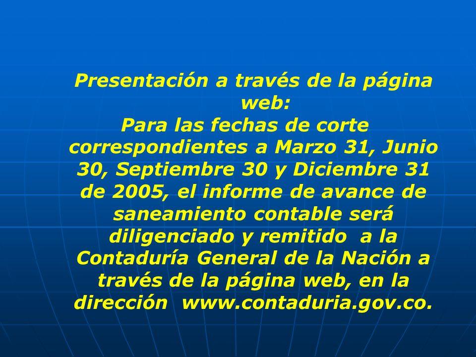 Presentación a través de la página web: Para las fechas de corte correspondientes a Marzo 31, Junio 30, Septiembre 30 y Diciembre 31 de 2005, el infor