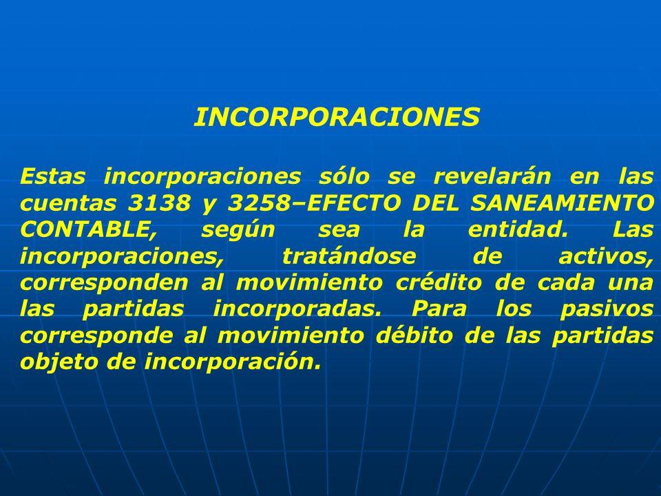 INCORPORACIONES Estas incorporaciones sólo se revelarán en las cuentas 3138 y 3258–EFECTO DEL SANEAMIENTO CONTABLE, según sea la entidad. Las incorpor