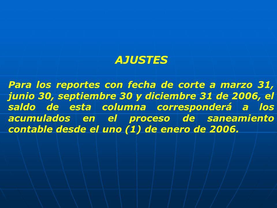AJUSTES Para los reportes con fecha de corte a marzo 31, junio 30, septiembre 30 y diciembre 31 de 2006, el saldo de esta columna corresponderá a los