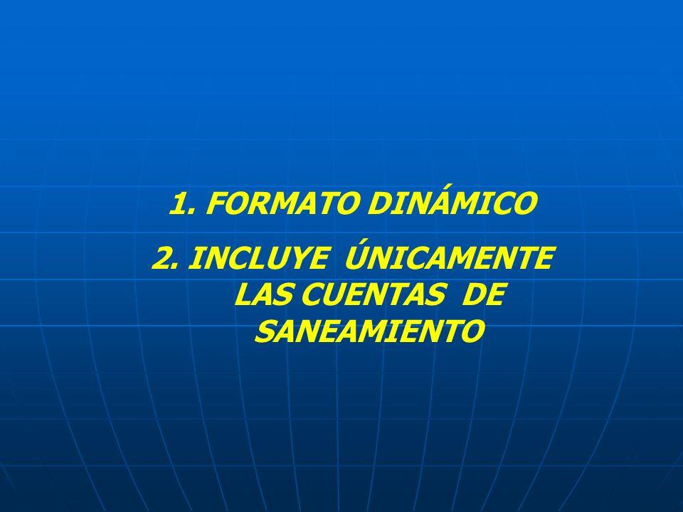 1. FORMATO DINÁMICO 2. INCLUYE ÚNICAMENTE LAS CUENTAS DE SANEAMIENTO