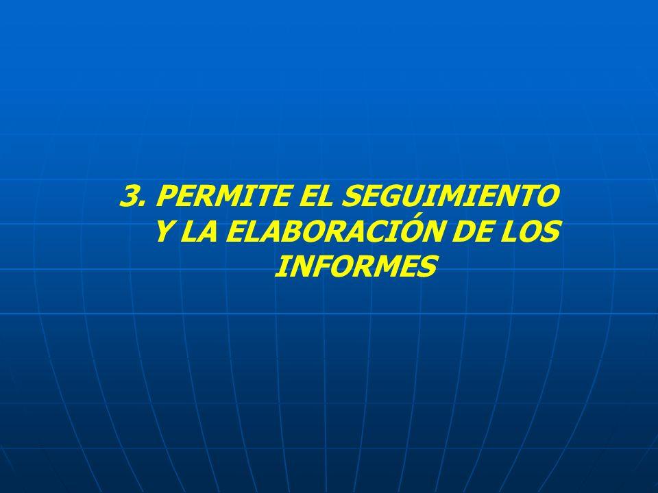 3. PERMITE EL SEGUIMIENTO Y LA ELABORACIÓN DE LOS INFORMES