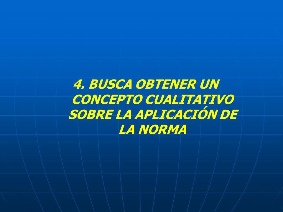 4. BUSCA OBTENER UN CONCEPTO CUALITATIVO SOBRE LA APLICACIÓN DE LA NORMA