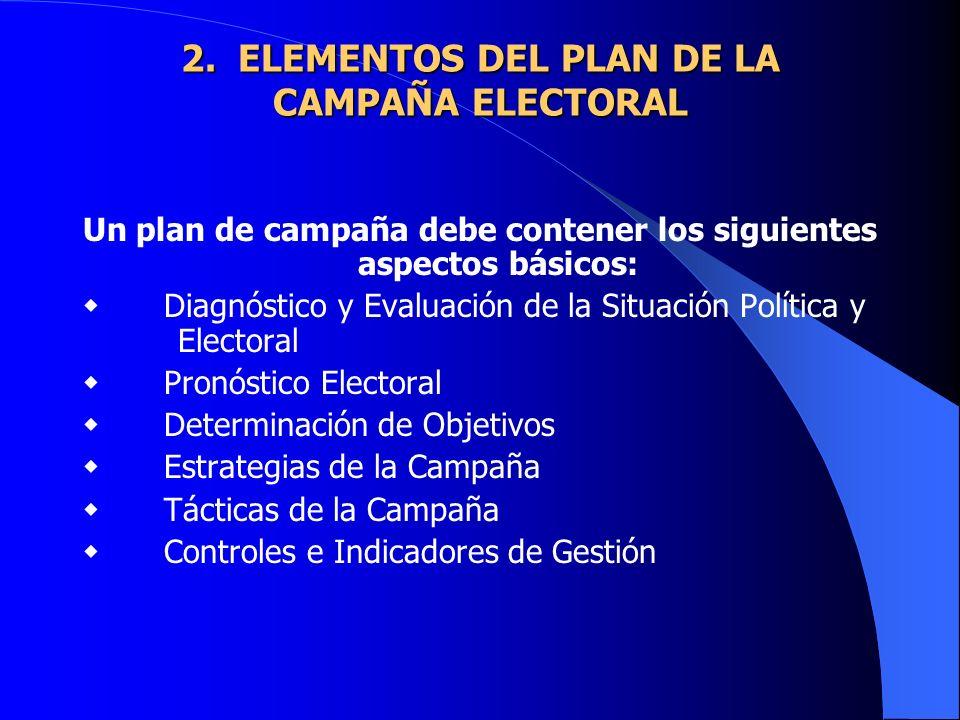 2. ELEMENTOS DEL PLAN DE LA CAMPAÑA ELECTORAL 2. ELEMENTOS DEL PLAN DE LA CAMPAÑA ELECTORAL Un plan de campaña debe contener los siguientes aspectos b