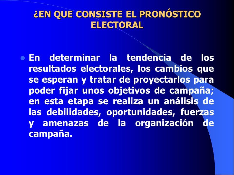 ¿EN QUE CONSISTE EL PRONÓSTICO ELECTORAL ¿EN QUE CONSISTE EL PRONÓSTICO ELECTORAL En determinar la tendencia de los resultados electorales, los cambio