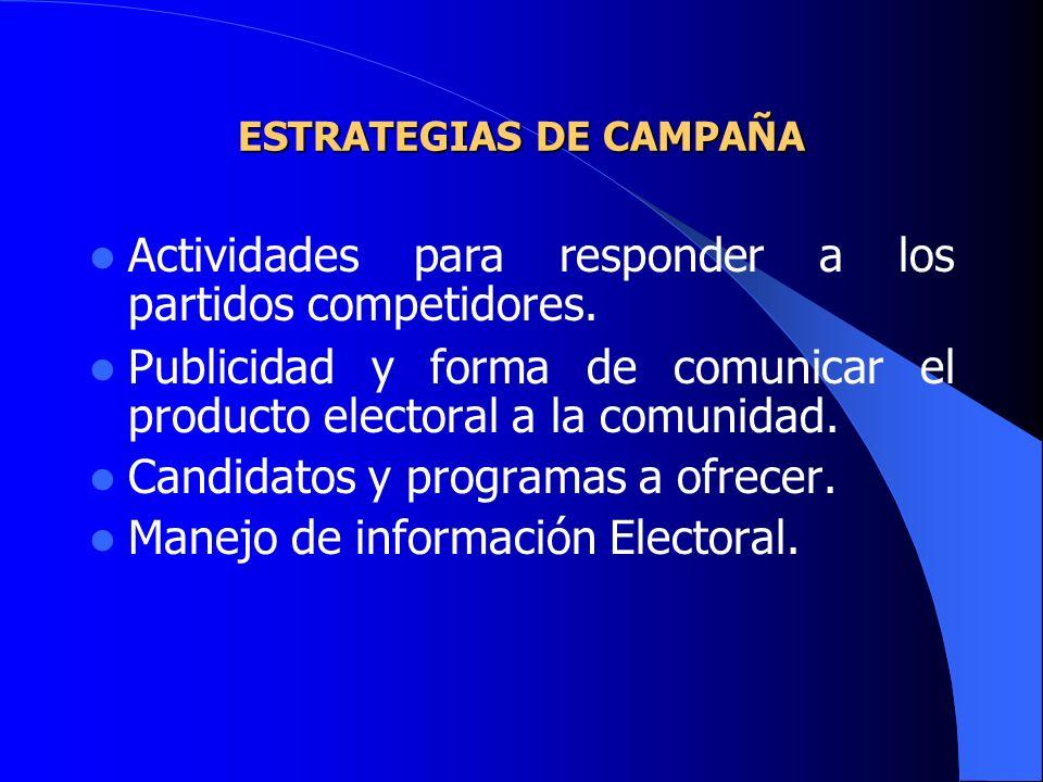 ESTRATEGIAS DE CAMPAÑA Actividades para responder a los partidos competidores. Publicidad y forma de comunicar el producto electoral a la comunidad. C