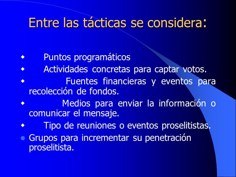 Entre las tácticas se considera : Puntos programáticos Actividades concretas para captar votos. Fuentes financieras y eventos para recolección de fond