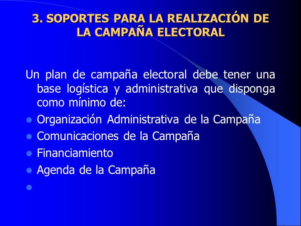 3. SOPORTES PARA LA REALIZACIÓN DE LA CAMPAÑA ELECTORAL 3. SOPORTES PARA LA REALIZACIÓN DE LA CAMPAÑA ELECTORAL Un plan de campaña electoral debe tene