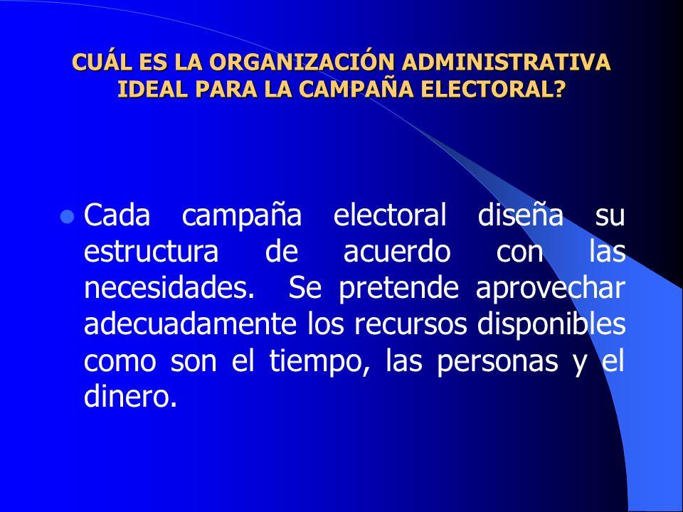 CUÁL ES LA ORGANIZACIÓN ADMINISTRATIVA IDEAL PARA LA CAMPAÑA ELECTORAL? Cada campaña electoral diseña su estructura de acuerdo con las necesidades. Se