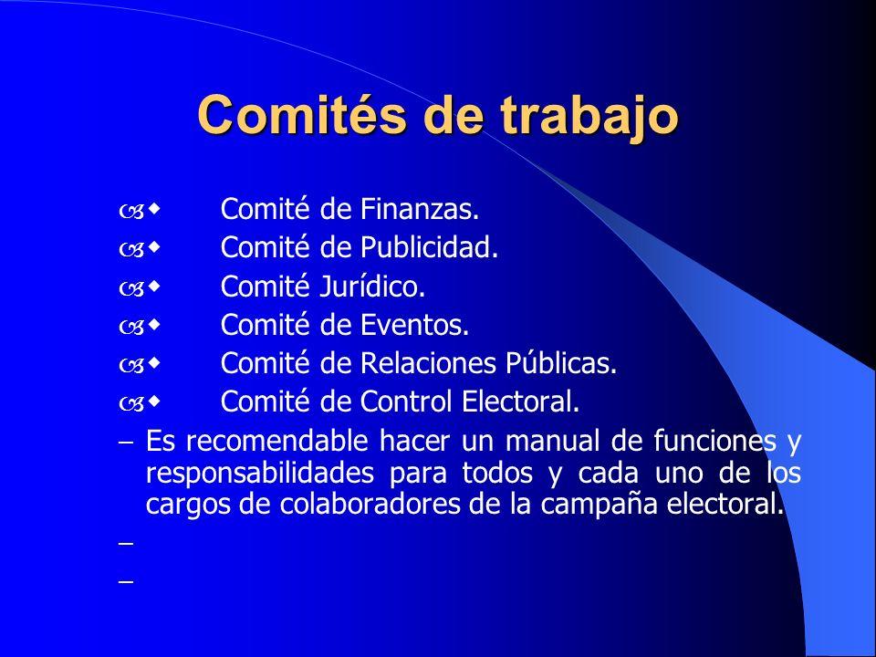 Comités de trabajo – Comité de Finanzas. – Comité de Publicidad. – Comité Jurídico. – Comité de Eventos. – Comité de Relaciones Públicas. – Comité de
