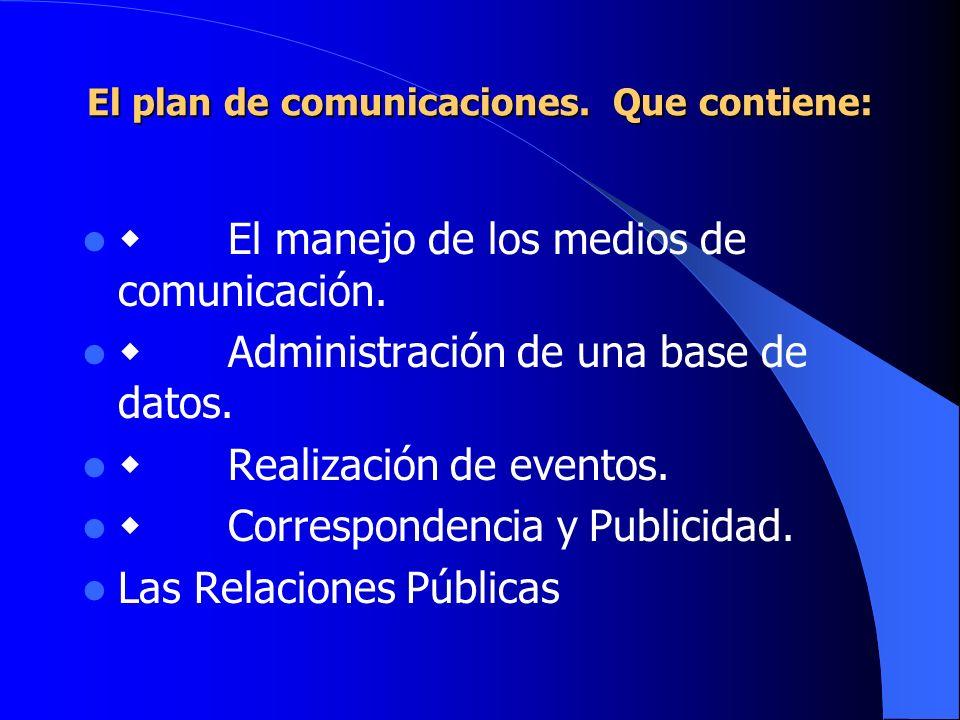 El plan de comunicaciones. Que contiene: El manejo de los medios de comunicación. Administración de una base de datos. Realización de eventos. Corresp