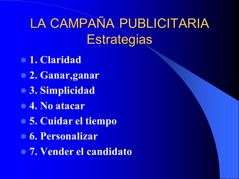 LA CAMPAÑA PUBLICITARIA Estrategias 1. Claridad 2. Ganar,ganar 3. Simplicidad 4. No atacar 5. Cuidar el tiempo 6. Personalizar 7. Vender el candidato