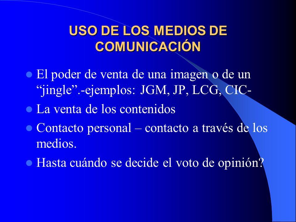 USO DE LOS MEDIOS DE COMUNICACIÓN El poder de venta de una imagen o de un jingle.-ejemplos: JGM, JP, LCG, CIC- La venta de los contenidos Contacto per