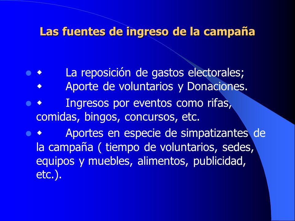 Las fuentes de ingreso de la campaña La reposición de gastos electorales; Aporte de voluntarios y Donaciones. Ingresos por eventos como rifas, comidas