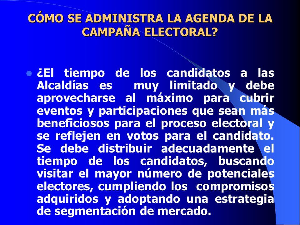 CÓMO SE ADMINISTRA LA AGENDA DE LA CAMPAÑA ELECTORAL? CÓMO SE ADMINISTRA LA AGENDA DE LA CAMPAÑA ELECTORAL? ¿El tiempo de los candidatos a las Alcaldí