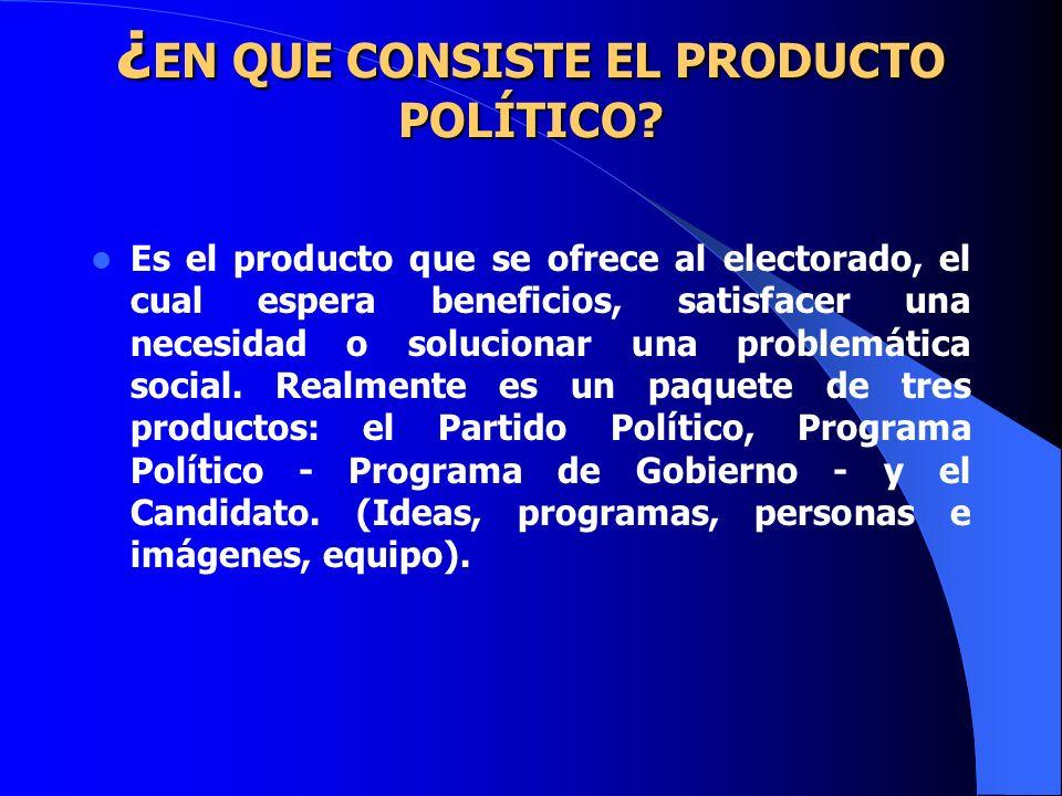 ¿ EN QUE CONSISTE EL PRODUCTO POLÍTICO? ¿ EN QUE CONSISTE EL PRODUCTO POLÍTICO? Es el producto que se ofrece al electorado, el cual espera beneficios,