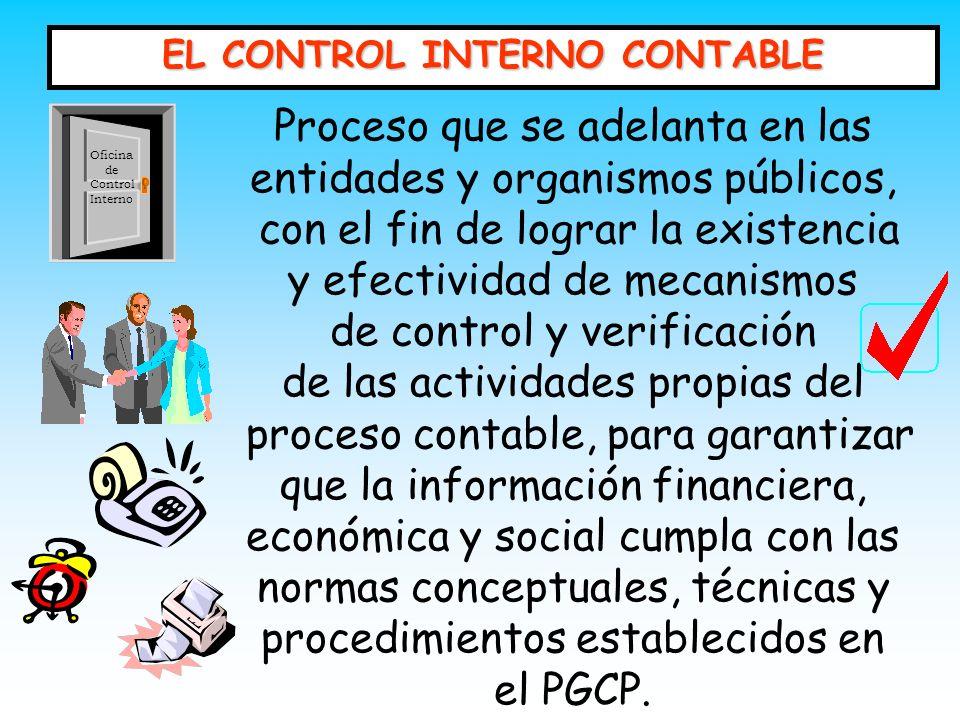 EL CONTROL INTERNO CONTABLE Proceso que se adelanta en las entidades y organismos públicos, con el fin de lograr la existencia y efectividad de mecani