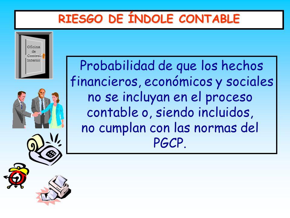 RIESGO DE ÍNDOLE CONTABLE Probabilidad de que los hechos financieros, económicos y sociales no se incluyan en el proceso contable o, siendo incluidos,