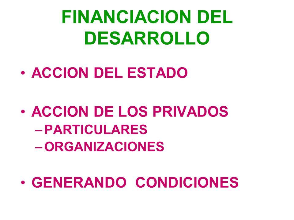 FINANCIACION DEL DESARROLLO ACCION DEL ESTADO ACCION DE LOS PRIVADOS –PARTICULARES –ORGANIZACIONES GENERANDO CONDICIONES