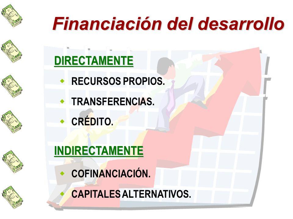 Financiación del desarrollo DIRECTAMENTE RECURSOS PROPIOS. TRANSFERENCIAS. CRÉDITO. INDIRECTAMENTE COFINANCIACIÓN. CAPITALES ALTERNATIVOS.