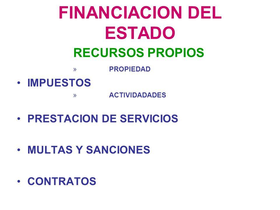 FINANCIACION DEL ESTADO » PROPIEDAD IMPUESTOS » ACTIVIDADADES PRESTACION DE SERVICIOS MULTAS Y SANCIONES CONTRATOS RECURSOS PROPIOS