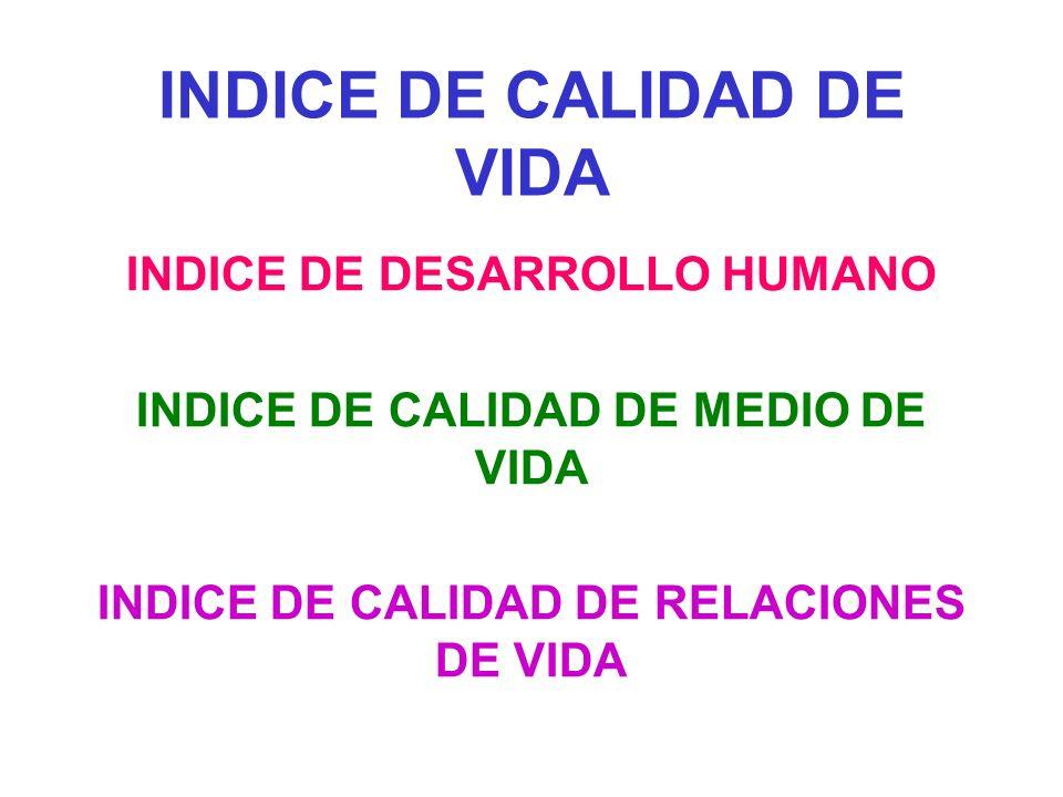 INDICE DE CALIDAD DE VIDA INDICE DE DESARROLLO HUMANO INDICE DE CALIDAD DE MEDIO DE VIDA INDICE DE CALIDAD DE RELACIONES DE VIDA