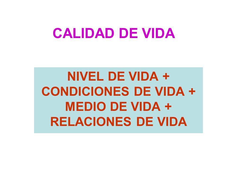 CALIDAD DE VIDA NIVEL DE VIDA + CONDICIONES DE VIDA + MEDIO DE VIDA + RELACIONES DE VIDA