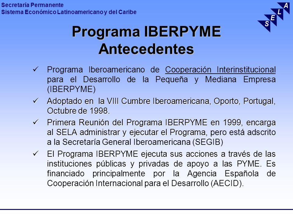Secretaría Permanente Sistema Económico Latinoamericano y del Caribe Programa IBERPYME Antecedentes Programa Iberoamericano de Cooperación Interinstit