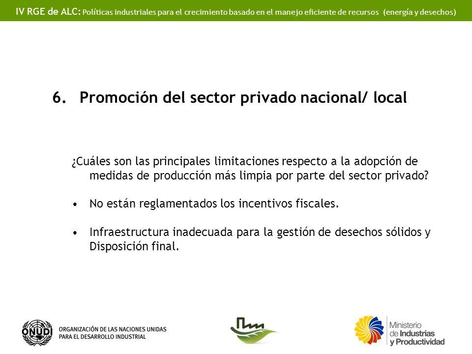 IV RGE de ALC: Políticas industriales para el crecimiento basado en el manejo eficiente de recursos (energía y desechos) 6.Promoción del sector privado nacional/ local ¿Cuáles son las principales limitaciones respecto a la adopción de medidas de producción más limpia por parte del sector privado.
