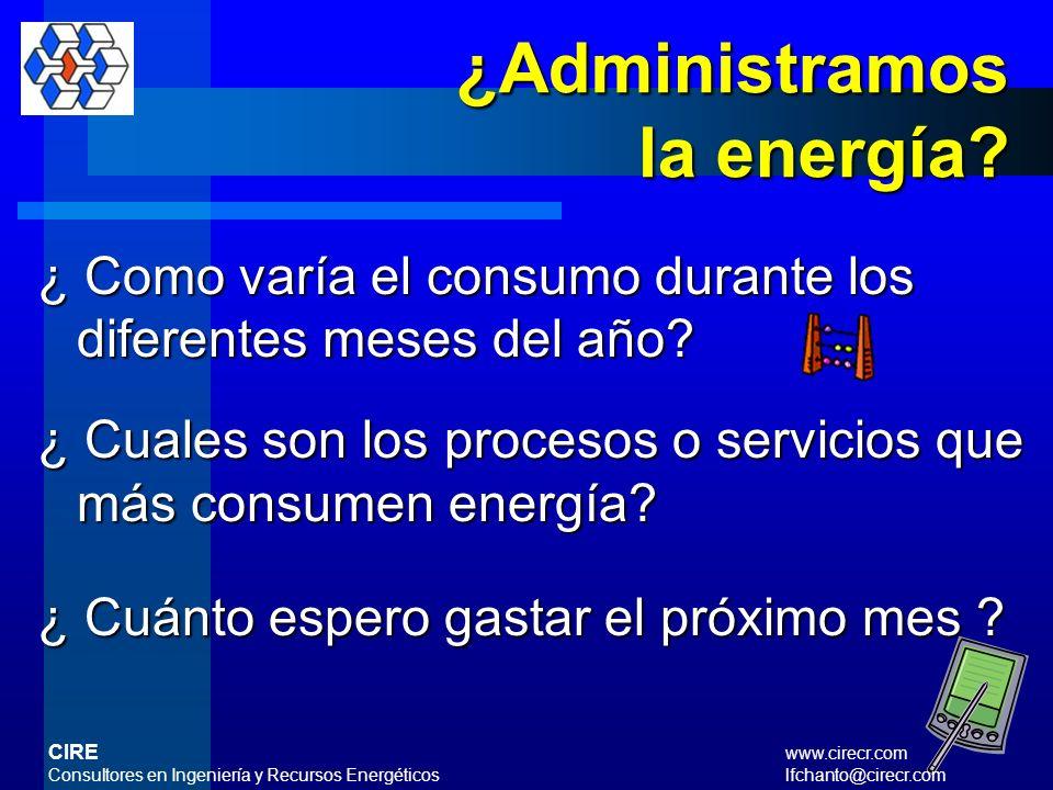 ¿Administramos la energía? ¿ Cuánto le pagamos a la empresa suplidora de energía por mes? ¿ Cuántos Kw-hr y galones de combustible consumimos al mes ?