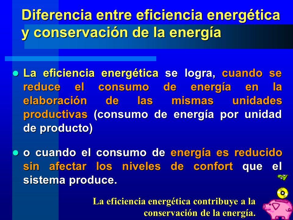 La conservación de la energía es obtenida cuando se reduce el consumo de la energía, medido en sus términos físicos (kW-hr, Julios, etc). La conservac