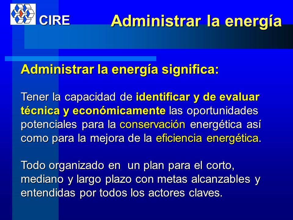 Administrar el recurso energético La administración de la energía o el gestionar la energía tiene como objetivo lograr los mejores índices energéticos