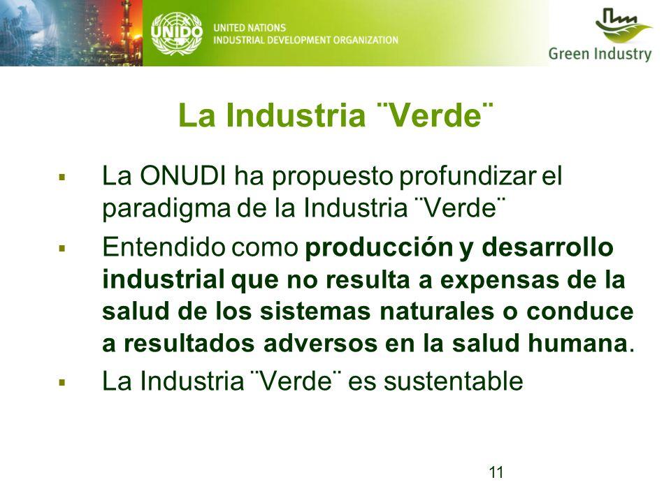 11 La Industria ¨Verde¨ La ONUDI ha propuesto profundizar el paradigma de la Industria ¨Verde¨ Entendido como producción y desarrollo industrial que n