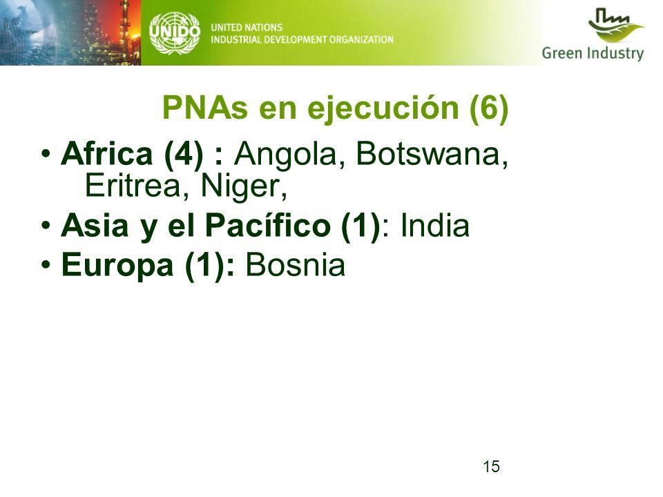 15 PNAs en ejecución (6) Africa (4) : Angola, Botswana, Eritrea, Niger, Asia y el Pacífico (1): India Europa (1): Bosnia
