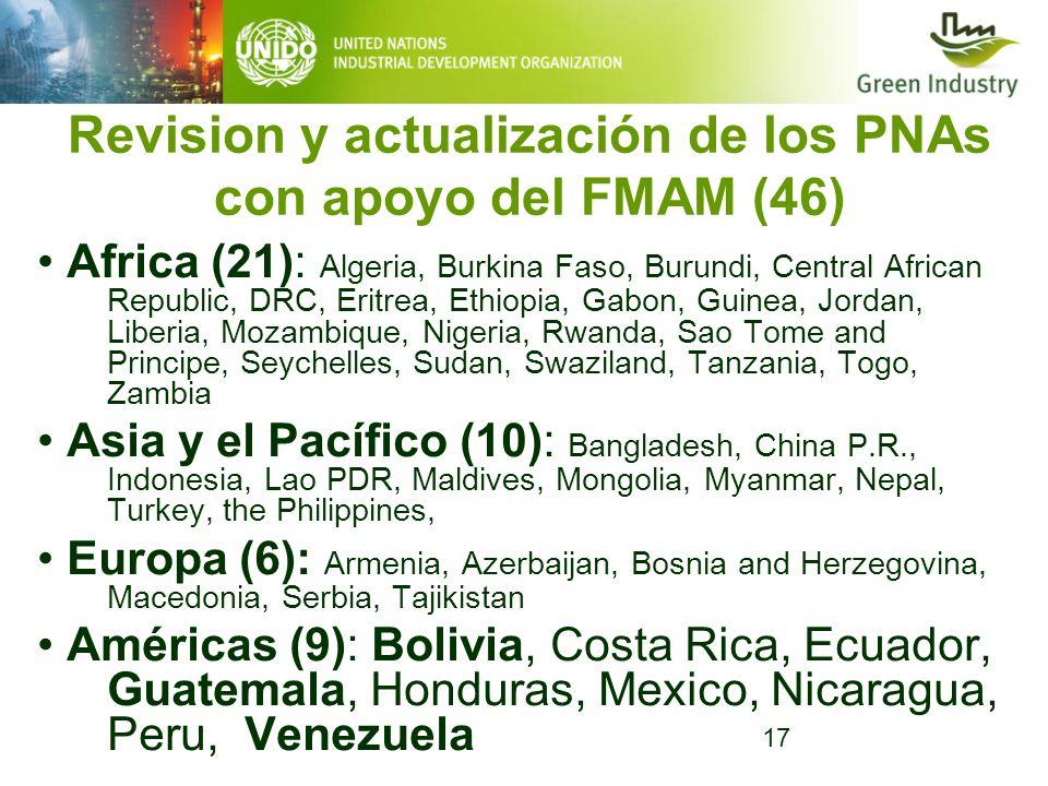 17 Revision y actualización de los PNAs con apoyo del FMAM (46) Africa (21): Algeria, Burkina Faso, Burundi, Central African Republic, DRC, Eritrea, E