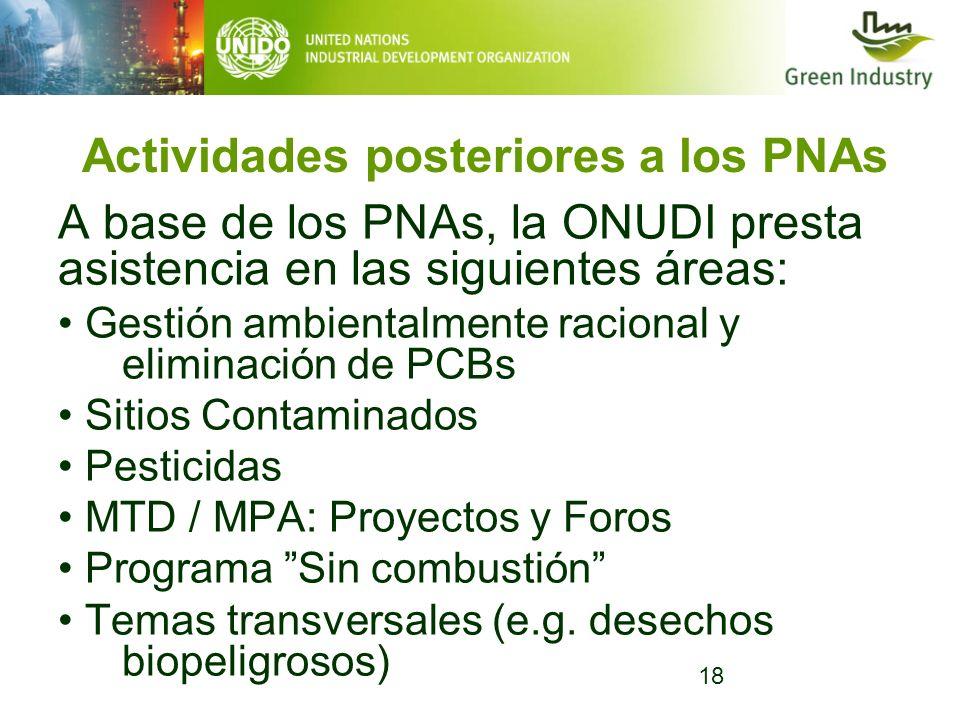 18 Actividades posteriores a los PNAs A base de los PNAs, la ONUDI presta asistencia en las siguientes áreas: Gestión ambientalmente racional y elimin