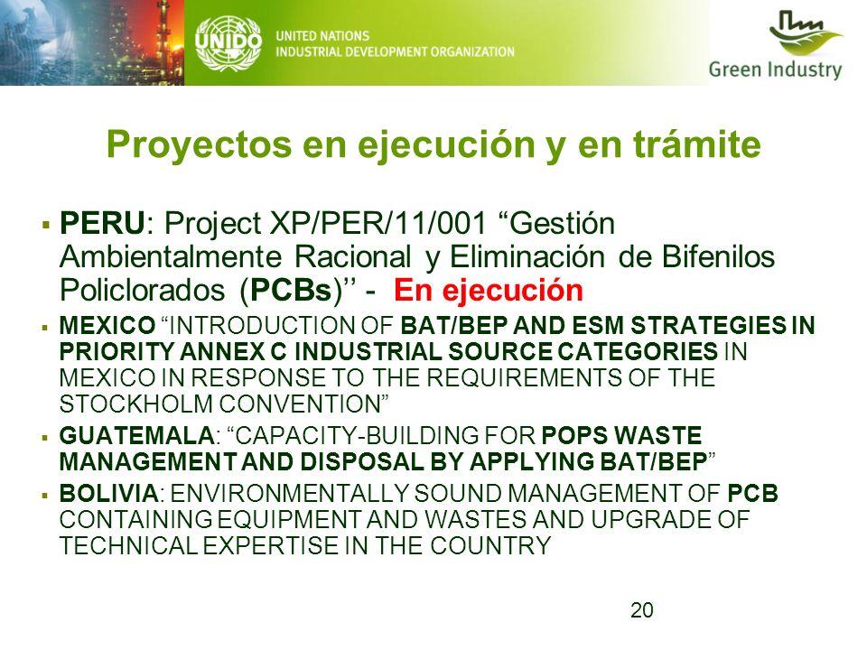 20 Proyectos en ejecución y en trámite PERU: Project XP/PER/11/001 Gestión Ambientalmente Racional y Eliminación de Bifenilos Policlorados (PCBs) - En