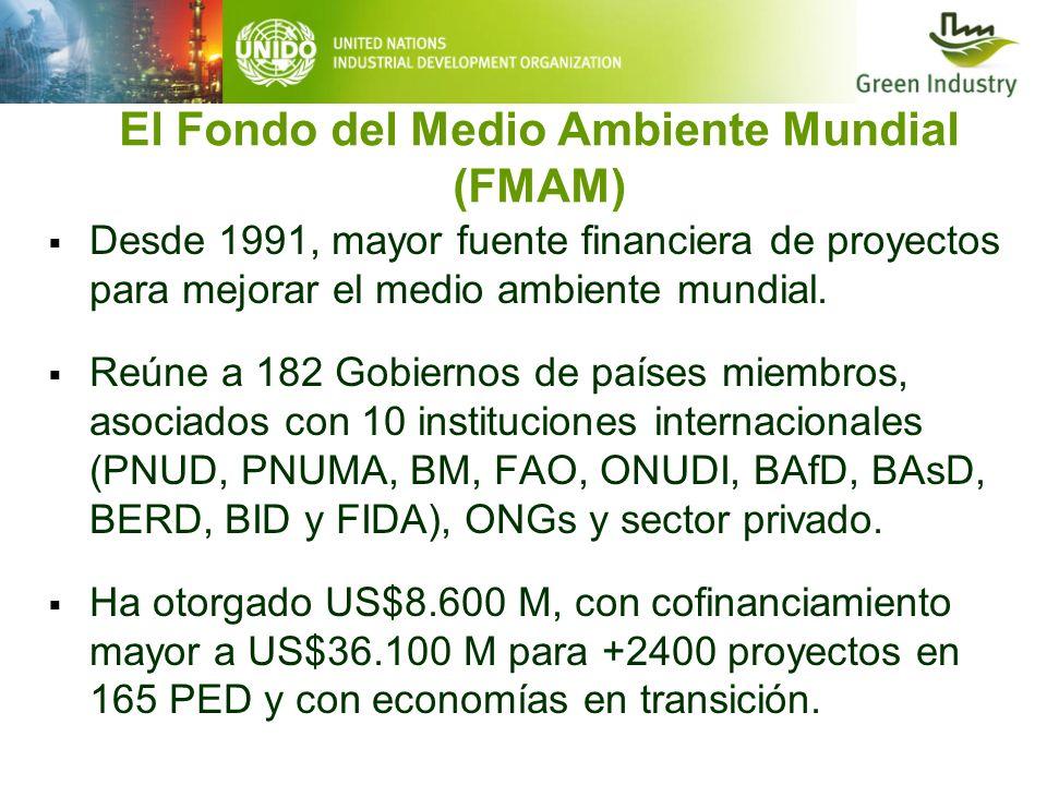 El Fondo del Medio Ambiente Mundial (FMAM) Desde 1991, mayor fuente financiera de proyectos para mejorar el medio ambiente mundial. Reúne a 182 Gobier