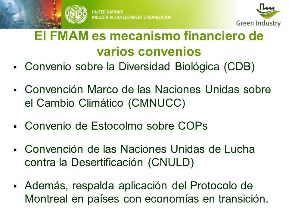 El FMAM es mecanismo financiero de varios convenios Convenio sobre la Diversidad Biológica (CDB) Convención Marco de las Naciones Unidas sobre el Camb