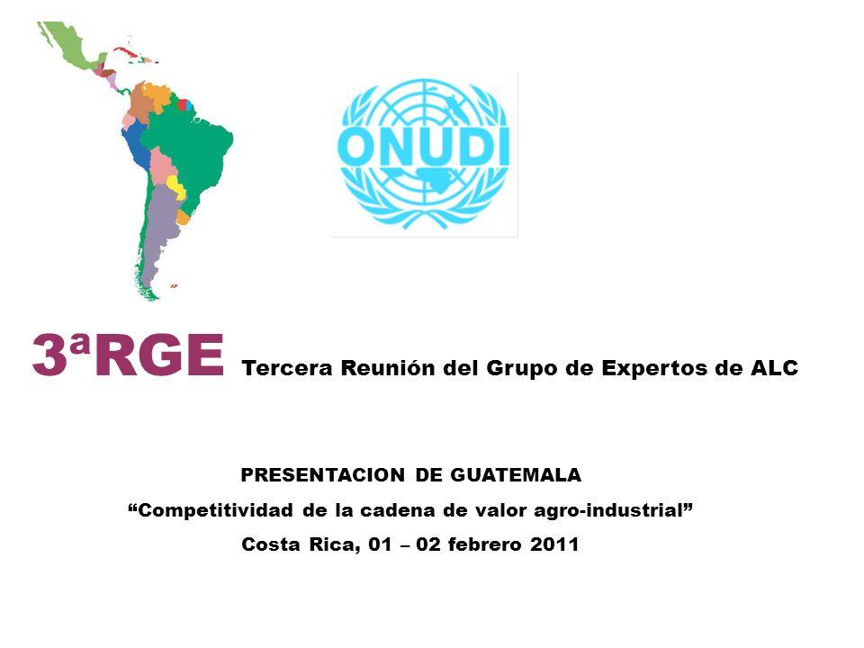 3ªRGE Tercera Reunión del Grupo de Expertos de ALC Localización de los cuellos de botella Incidencia cambio climático, Suministro de la producción a tiempo Paquete tecnológico.