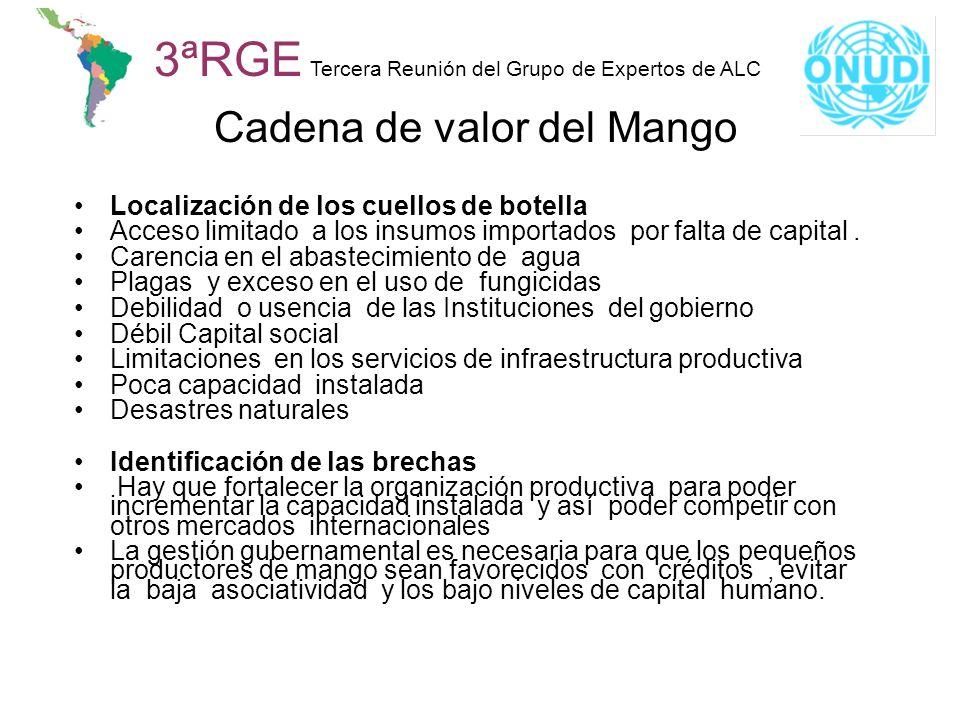 3ªRGE Tercera Reunión del Grupo de Expertos de ALC Cadena de valor del Mango Localización de los cuellos de botella Acceso limitado a los insumos impo