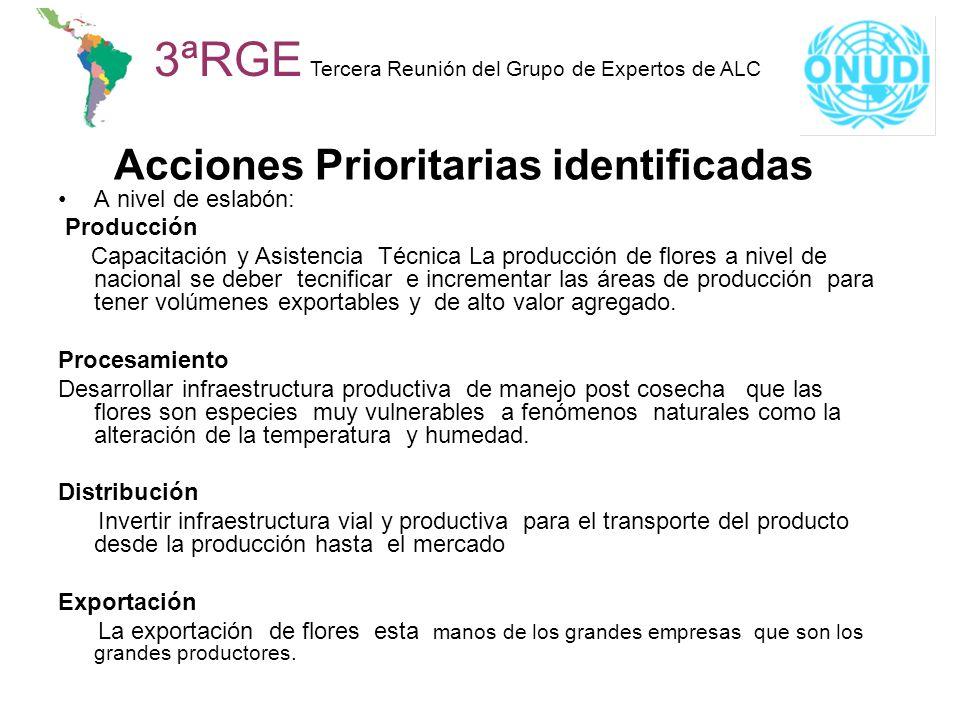 Acciones Prioritarias identificadas 3ªRGE Tercera Reunión del Grupo de Expertos de ALC A nivel de eslabón: Producción Capacitación y Asistencia Técnic