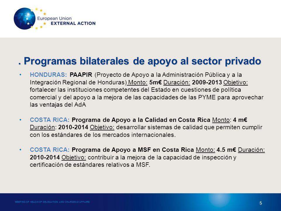 MEETING OF HEADS OF DELEGATION AND CHARGES DAFFAIRE 5 HONDURAS: PAAPIR (Proyecto de Apoyo a la Administración Pública y a la Integración Regional de Honduras) Monto: 5m Duración: 2009-2013 Objetivo: fortalecer las instituciones competentes del Estado en cuestiones de política comercial y del apoyo a la mejora de las capacidades de las PYME para aprovechar las ventajas del AdA COSTA RICA: Programa de Apoyo a la Calidad en Costa Rica Monto: 4 m Duración: 2010-2014 Objetivo: desarrollar sistemas de calidad que permiten cumplir con los estándares de los mercados internacionales.