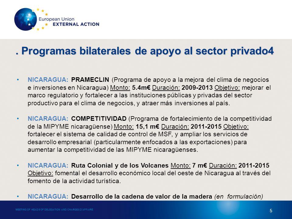 MEETING OF HEADS OF DELEGATION AND CHARGES DAFFAIRE 5 NICARAGUA: PRAMECLIN (Programa de apoyo a la mejora del clima de negocios e inversiones en Nicaragua) Monto: 5.4m Duración: 2009-2013 Objetivo: mejorar el marco regulatorio y fortalecer a las instituciones públicas y privadas del sector productivo para el clima de negocios, y atraer más inversiones al país.