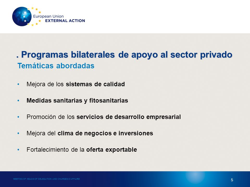 4. Programas bilaterales de apoyo al sector privado MEETING OF HEADS OF DELEGATION AND CHARGES DAFFAIRE 5 Temáticas abordadas Mejora de los sistemas d