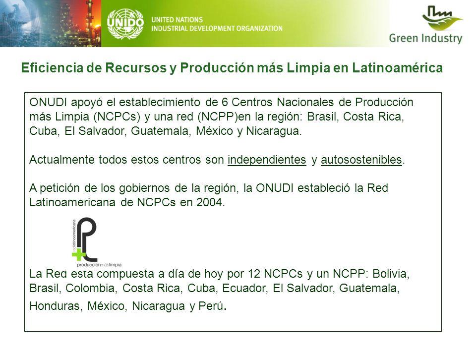 Eficiencia de Recursos y Producción más Limpia en Latinoamérica ONUDI apoyó el establecimiento de 6 Centros Nacionales de Producción más Limpia (NCPCs